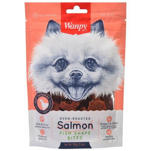 Лакомство для собак Wanpy Лакомые кусочки из нежного лосося в форме рыбок, 100 г serrano serrano snacks лакомство для собак снеки из лосося и тунца 100 г