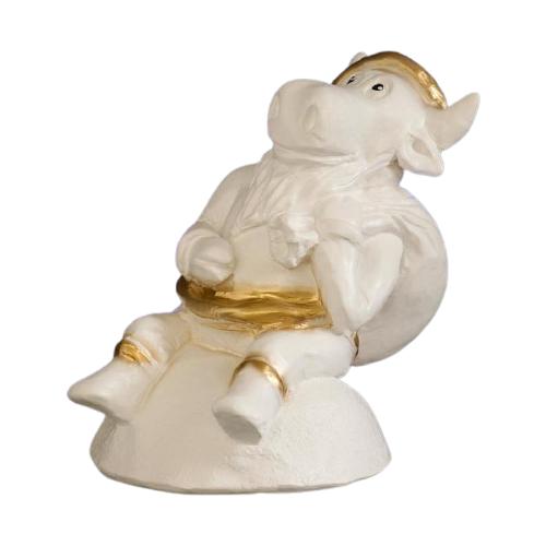 Копилка Хорошие сувениры Символ года: Бык Дед Мороз, гипс 20 х 13 х 18 см белое золото