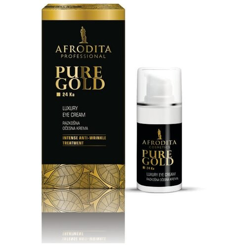 Крем для кожи вокруг глаз омолаживающий роскошный с изофлавонами и золотом Pure gold 24 ka, Afrodita Cosmetics, Словения, 15мл