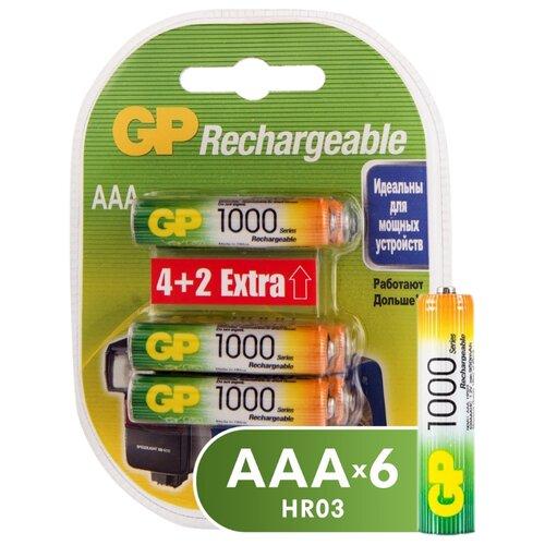 Аккумулятор Ni-Mh 950 мА·ч GP Rechargeable 1000 Series AAA, 6 шт. аккумулятор ni mh 550 ма·ч panasonic eneloop lite dect aaa 3 шт блистер