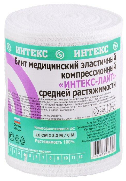 Бинт эластичный компрессионный ИНТЕКС Лайт средней растяжимости (3 м х 10 см)