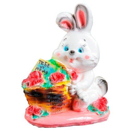 Копилка Хорошие сувениры Кролик с корзиной, гипс 12х19х23 см белый/розовый