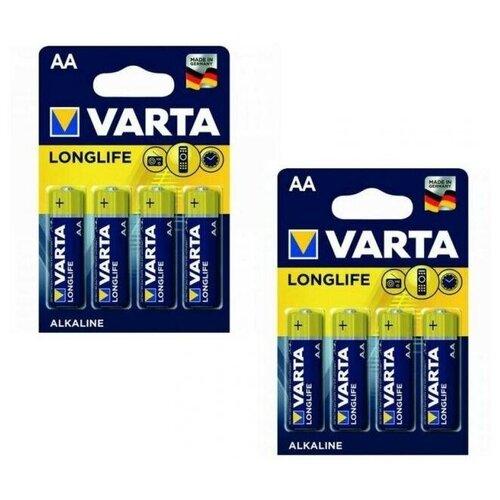 Фото - Набор из 8 батареек Varta Longlife AA (2 уп. по 4 шт. в блистере) аккумуляторы типа aa varta longlife комплект 4 штуки 2100mah