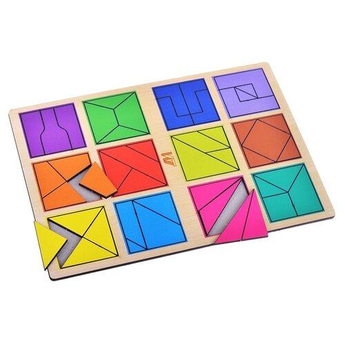 Рамка-вкладыш Деревянные игрушки Сложи квадрат 2 уровень (ДИ018) деревянные игрушки djeco звуковая рамка вкладыш ферма