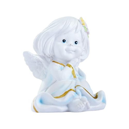 Статуэтка Хорошие сувениры Ангел с двумя цветочками в волосах 9 см белый