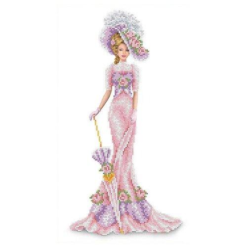 Каролинка Канва с рисунком для бисера и ниток Дама в розовом 23.7 x 39.1 см (КБЛ-3014)