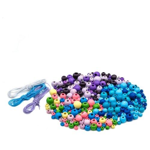 Купить Набор деревянных бусин со шнуром, фиолетово-пастельно-голубой микс, 6-12мм, 270шт, Астра, Astra & Craft, Фурнитура для украшений
