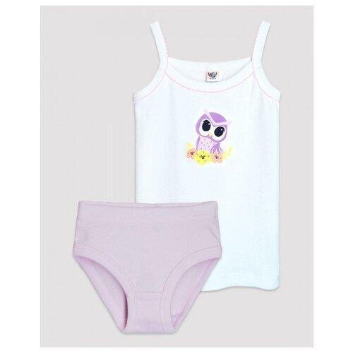 Купить Комплект нижнего белья Let's Go размер 110-116, белый/фиолетовый, Белье и купальники