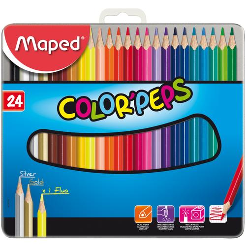 Фото - Maped Цветные карандаши Color Peps 24 цвета, металлическая коробка (832016) карандаши набор 18цв аквар maped color peps aqua кисть