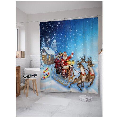 Фото - Штора для ванной JoyArty Санта везет подарки 180х200 голубой/белый штора для ванной joyarty подарки для семьи 180х200 sc 78656