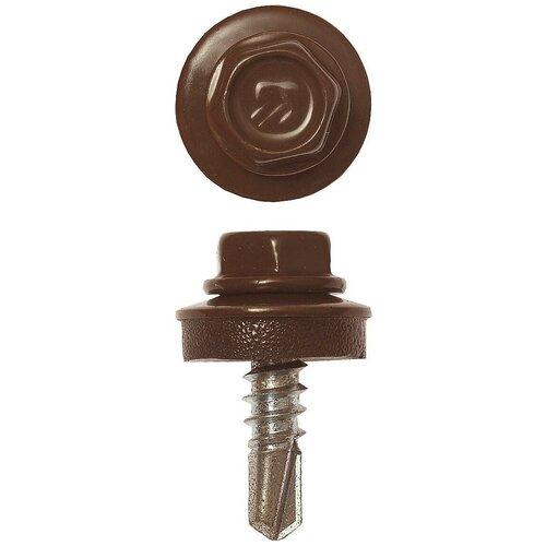Саморезы СКМ кровельные, RAL 8017 шоколадно-коричневый, 19 х 5.5 мм, 500 шт, для металлических конструкций, ЗУБР Профессионал 4-300315-55-019-8017 недорого