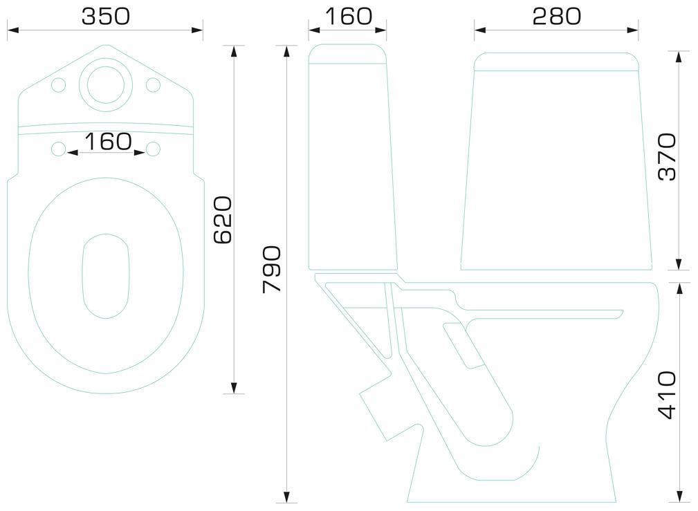 Унитаз с бачком напольный Gesso W102 с косым выпуском
