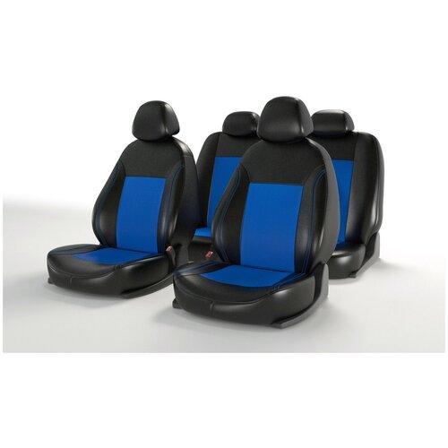 Универсальные чехлы на автомобильные сиденья CarFashion ATOM LEATHER черный/синий/синий