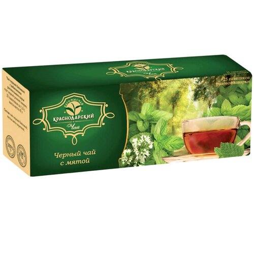 Чай чёрный байховый с мятой, 25 пакетиков. Дагомысчай. Сочинский чай высшего сорта. Краснодарский чай.
