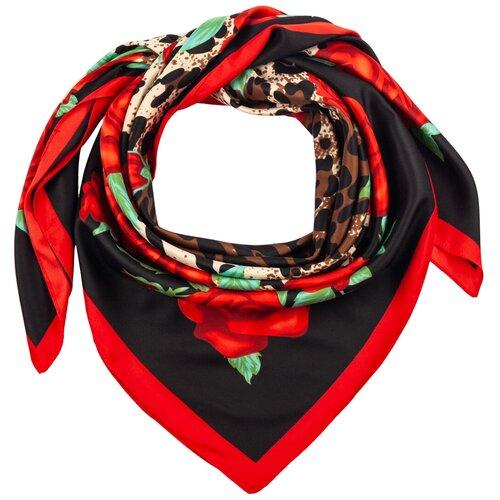 Шелковый платок на шею/Платок шелковый на голову/женский/Шейный шелковый платок/стильный/модный /21kdg85326-849a1vr черный,красный/Vittorio Richi/100% шелк/90x90