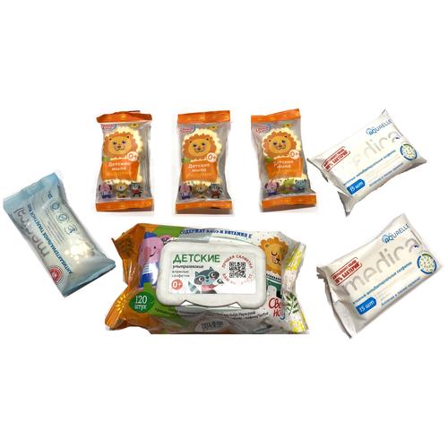 Купить Набор СВЕЖАЯ НОТА Ультрамягкие влажные салфетки (120 шт.) AQUAELLE MEDICAL дезодорирующие 2 уп (30 шт ) Антибактериальное мыло Extra и Львёнок ( 3 шт.) 70208, Свежая нота