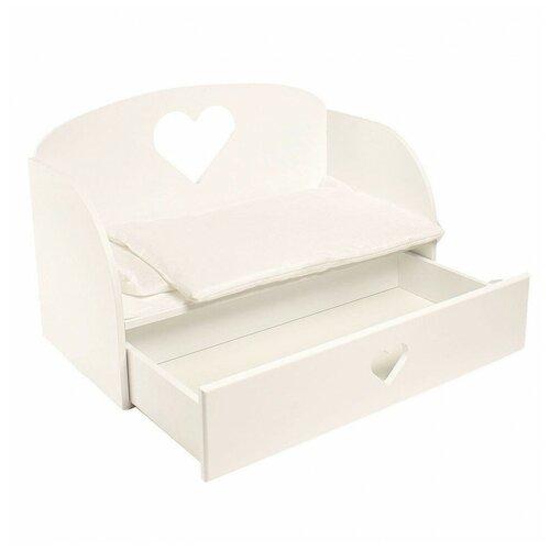 PAREMO Диван-кровать для кукол Сердце (PFD120) белый
