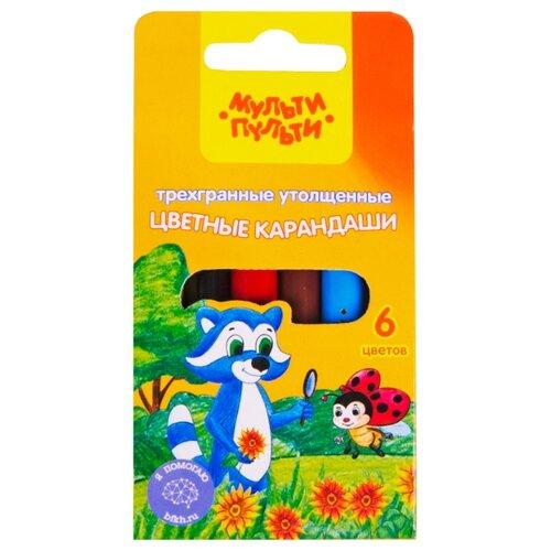 Купить Мульти-Пульти Карандаши цветные Енот на лугу 6 цветов (CP_14755), Цветные карандаши