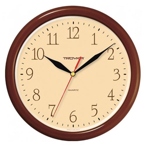 Часы настенные кварцевые Тройка 21234287 коричневый.