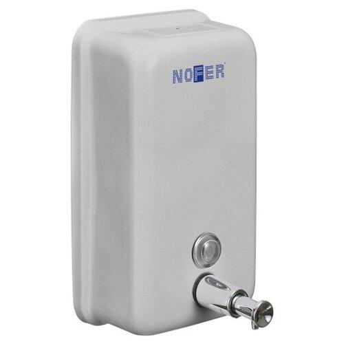 Дозатор жидкого мыла Nofer INOX белый прямоугольный 1200 мл (03001.W)