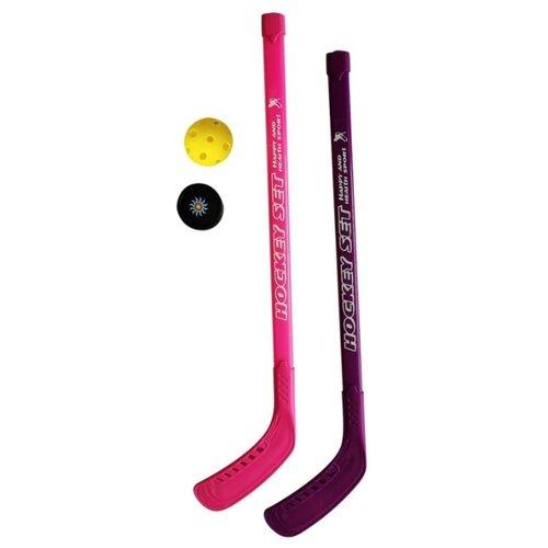 Набор хоккейный 1Toy 2 клюшки, пластик, 77 см, шайба, мячик (Т19327)