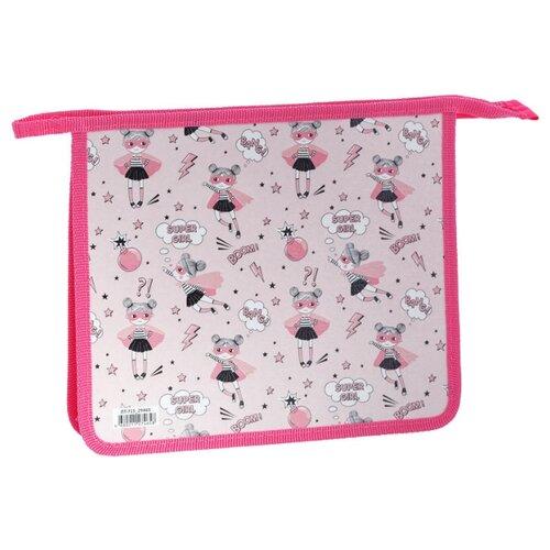 Купить ArtSpace Папка для тетрадей Super girl А5, на молнии, пластик розовый, Файлы и папки