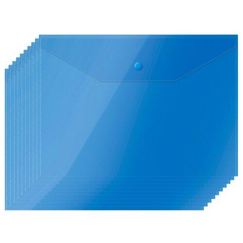 Купить OfficeSpace Папка-конверт на кнопке А4, пластик 150 мкм, 10 штук синий, Файлы и папки