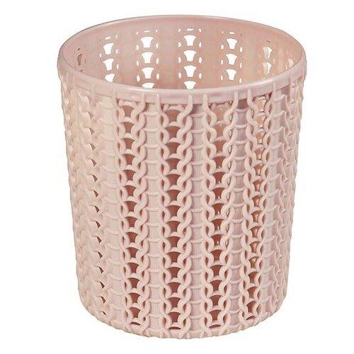 Фото - Подставка ВЯЗАНИЕ круглая (чайная роза) (М2384) (IDEA) подставка для столовых приборов пластиковая вязание idea м1166 чайная роза 16x11x20 см