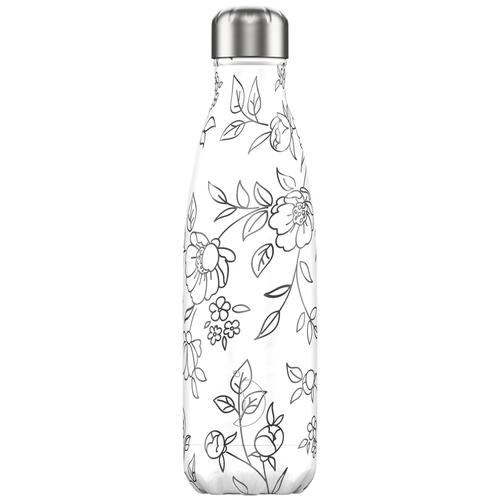 Термобутылка Chilly's Line Art Flowers, 0.5 л белый