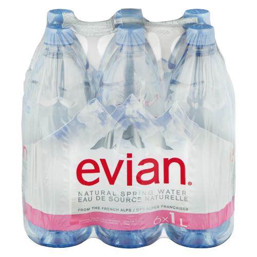 Вода минеральная Evian негазированная, ПЭТ, 6 шт. по 1 л