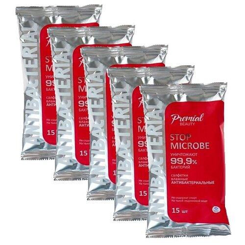 Купить Антибактериальные влажные салфетки Premial 5 упаковок по 15 шт