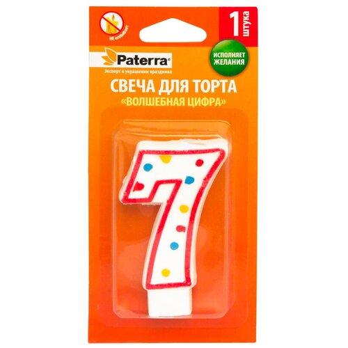 Фото - Paterra Свеча для торта Волшебная цифра 7 белый/красный paterra свеча для торта детская цифра 1 розовый