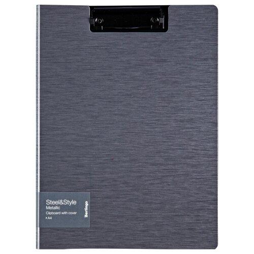 Berlingo Папка-планшет с зажимом с крышкой Steel&Style A4, пластик серый