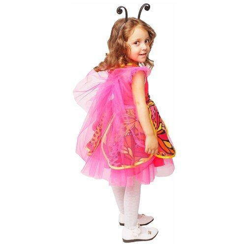 Купить Костюм пуговка Бабочка (1014 к-18), розовый/желтый, размер 128, Карнавальные костюмы