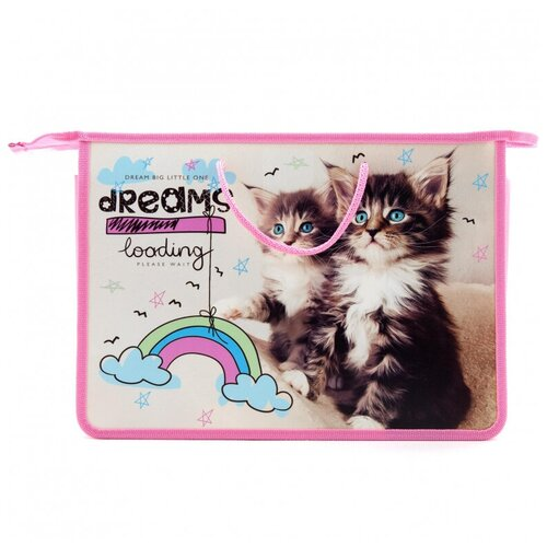 Купить Папка для тетрадей Мечта котят -папка А4 на молнии с ручками, ПТ 15-4, 62162, Оникс, Файлы и папки