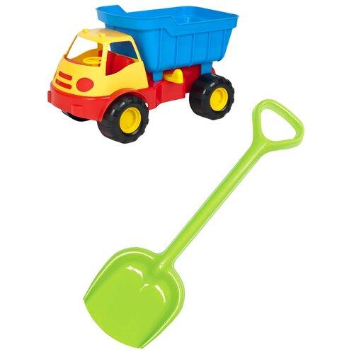 Купить Детский игровой набор для песочницы: Автомобиль самосвал ACTIVE + Лопатка 50 см салатовая, ZEBRA TOYS, Karolina toys, Наборы в песочницу