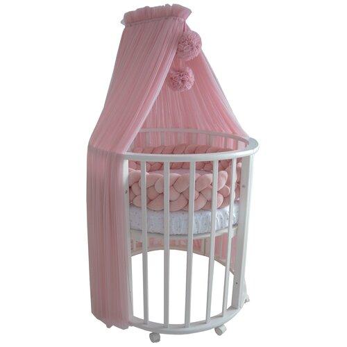 Купить Балдахин на детскую кроватку с помпонами, фатин, пудрово-розовый, Childrens Textiles, Балдахины и держатели