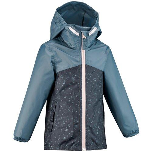 Куртка водонепроницаемая для походов для детей 2–6 лет MH150 KID, размер: 113-122 CM 5-6, цвет: Синий Графит QUECHUA Х Декатлон