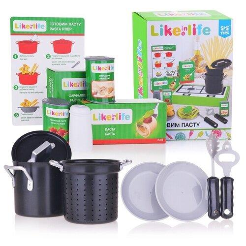 Набор продуктов с посудой S+S Toys Готовим пасту 200152767 зеленый/черный/серый