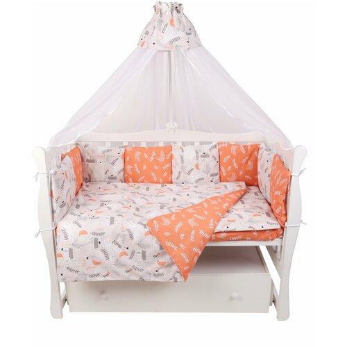 Купить Комплект в кроватку 15 предметов (3+12 подушек-бортиков) AmaroBaby Лес (поплин), Постельное белье и комплекты