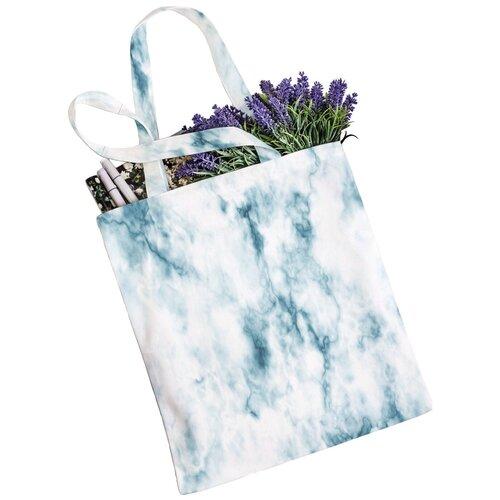 Сумка JoyArty, текстиль, белый/голубой