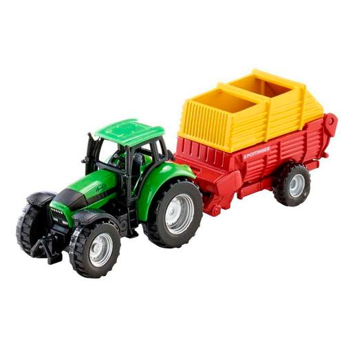 трактор siku с прицепом кузовом 1858 1 87 22 6 см желтый Трактор Siku с погрузчиком Poettinger (1676), 15.6 см, зеленый/желтый/красный