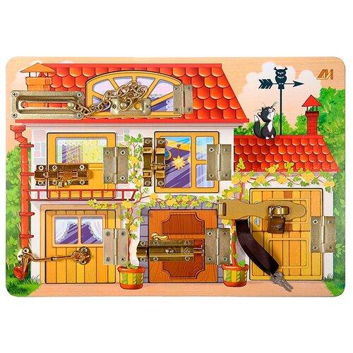 Купить Бизиборд Деревянные игрушки Домик красный/желтый/зеленый/голубой, Развитие мелкой моторики