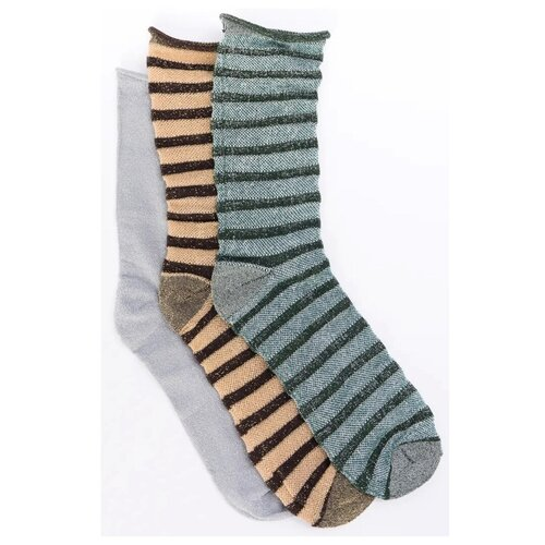 Носки ICHI 20107790, 3 пары, размер 37-39, серый/бежевый/голубой