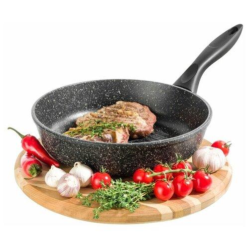 Сковорода - гриль круглая 24 см Гармония вкуса Elan Gallery Черный мрамор, несъёмная ручка сковорода d 24 см kukmara кофейный мрамор смки240а