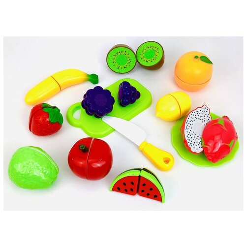 Детский игровой набор фрукты на липучке, набор игрушечных продуктов для нарезки 612A, 13 предметов: банан, виноград, киви, апельсин, клубника, яблоко, лимон, гуава, арбуз, питайя, доска, нож, тарелка, 29х20х9 см