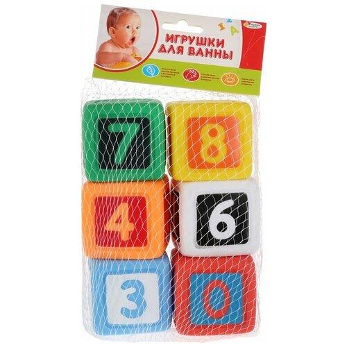 Купить Набор для ванной Играем вместе Кубики с цифрами (LXN-4-6) зеленый/желтый/красный/оранжевый, Игрушки для ванной