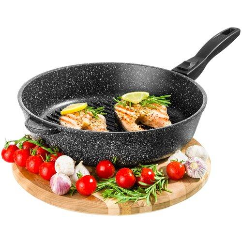 Сковорода - гриль круглая 28 см Гармония вкуса Elan Gallery Черный мрамор, съёмная ручка сковорода d 24 см kukmara кофейный мрамор смки240а