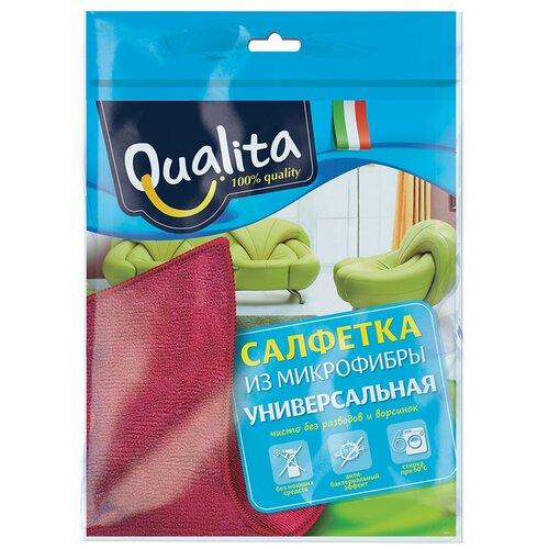 Салфетка из микрофибры Qualita универсальная, бордо салфетка из микрофибры qualita антипыль 1 мл