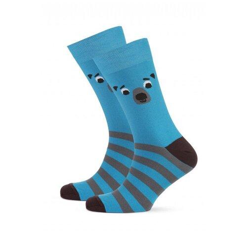 Носки St. Friday Мишка мед, размер 34-37, синий носки st friday кислотный диджей размер 34 37 белый